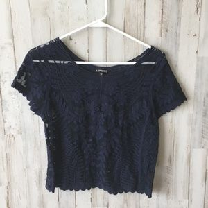 Express sheer embroidered lace blue top
